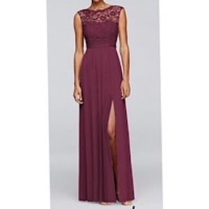Long Bridesmaid Dress with Lace Bodice